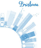 Outline Brisbane skyline with blue building and copy space. Vector illustration Stock Photography