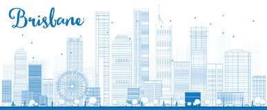 Outline Brisbane skyline with blue building Royalty Free Stock Image
