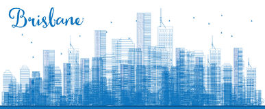 Outline Brisbane skyline with blue building. Vector illustration. Business travel and tourism concept with modern buildings. Image for presentation, banner Stock Photography