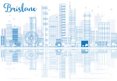 Outline Brisbane skyline with blue buildings and reflections. Vector illustration. Business travel and tourism concept with place for text. Image for Stock Images