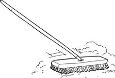 Outline Broom with Dirt Royalty Free Stock Photography
