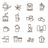 Outline brown simple coffee icons set Stock Images