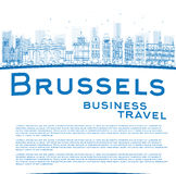 Outline Brussels skyline with blue building and copy space Royalty Free Stock Photo