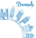 Outline Brussels skyline with blue building and copy space Royalty Free Stock Image