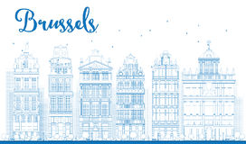 Outline Brussels skyline with Ornate buildings of Grand Place Royalty Free Stock Photo