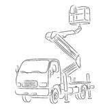 Outline of bucket truck, vector illustration. Hand-drawn outline of bucket truck  on white background. Art vector illustration for your design Stock Photography