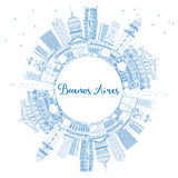 Outline Buenos Aires Skyline with Blue Landmarks and Copy Space. Stock Photography