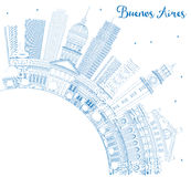 Outline Buenos Aires Skyline with Blue Landmarks and Copy Space. Royalty Free Stock Photos