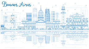 Outline Buenos Aires Skyline with Blue Landmarks and Reflections Royalty Free Stock Photo