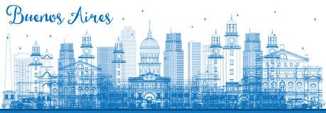 Outline Buenos Aires Skyline with Blue Landmarks. Stock Images
