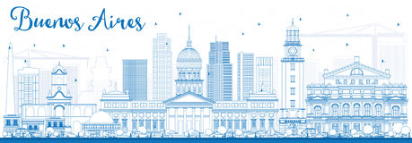 Outline Buenos Aires Skyline with Blue Landmarks. Royalty Free Stock Image
