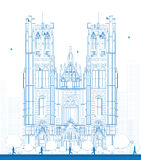 Outline building of the Cathedral of St Michael and St Gudula in Royalty Free Stock Image