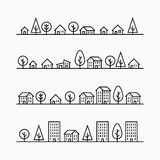 Outline buildings and trees in line, 4 different styles Stock Image