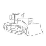 Outline of bulldozer, vector illustration. Outline of bulldozer on the white background, vector illustration Stock Photo