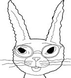 Outline of Bunny in Glasses Royalty Free Stock Image