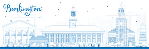 Outline Burlington (Vermont) City Skyline with Blue Buildings. stock illustration