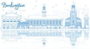 Outline Burlington (Vermont) Skyline with Blue Buildings and Ref stock illustration