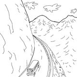 Outline of Bus on Mountain Road. Outline cartoon drawing of school bus on mountain highway Royalty Free Stock Photos