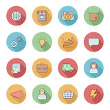 Outline business circle icons vector set. Part one. Royalty Free Stock Photo
