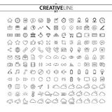 Outline business finance and multimedia icons set. You can use this huge icons collection for your web and mobile graphical user interface, advertising, etc Royalty Free Stock Image