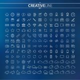 Outline business finance and multimedia icons set. You can use this huge icons collection for your web and mobile graphical user interface, advertising, etc Royalty Free Stock Images
