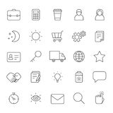 Outline business gray icons vector set. Modern minimalistic style. Part two. Royalty Free Stock Photography