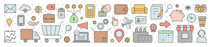 Outline business horizontal vector background. Simple design. royalty free illustration
