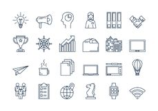 02 Outline BUSINESS icons set. Vector set of colored 24 linear outline dark blue icons. Successful business isolated pictographs. SEO, progress, documentation Vector Illustration