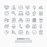 Outline business and office icons set. Stock Photos