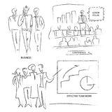 Outline of business people. Set a group of employees. Outline of Royalty Free Stock Image