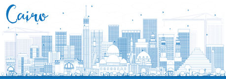 Outline Cairo Skyline with Blue Buildings. Royalty Free Stock Photos