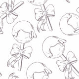 Outline cake pops with bow seamless pattern Stock Photography