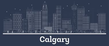 Outline Calgary Canada City Skyline with White Buildings. Vector Illustration. Business Travel and Concept with Modern Architecture. Calgary Cityscape with royalty free illustration
