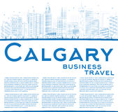 Outline Calgary Skyline with Blue Buildings and Copy Space. Stock Photography