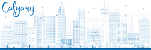 Outline Calgary Skyline with Blue Buildings. Stock Images