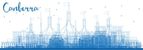 Outline Canberra Australia City Skyline with Blue Buildings. Vector Illustration. Business Travel and Tourism Concept with Modern Architecture. Canberra stock illustration