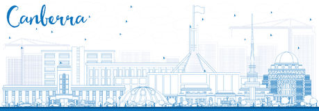 Outline Canberra Skyline with Blue Buildings. Vector Illustration. Business Travel and Tourism Concept with Modern Architecture. Image for Presentation Banner stock illustration