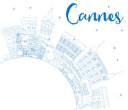Outline Cannes Skyline with Blue Buildings and Copy Space. Royalty Free Stock Image