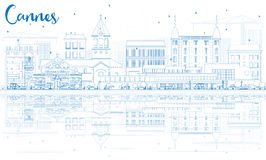 Outline Cannes Skyline with Blue Buildings and Reflections. Stock Images