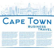 Outline Cape Town skyline with blue buildings and copy space. Royalty Free Stock Photos