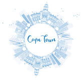 Outline Cape Town skyline with blue buildings and copy space. Vector illustration. Business travel and tourism concept with place for text. Image for stock illustration