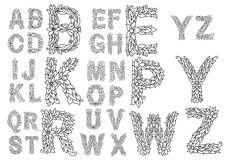 Outline capital letters with foliage ornament Stock Photography