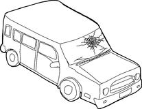 Outline of Car with Fractured Window Stock Image