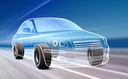 Outline of car on the road. 3D illustration of car like outline on road with high speed stock illustration