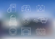 Outline car service icons set. With car, taxi, security alarm steering wheel garage oil washing battery and shopping cart vector illustration