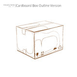 Outline of a cardboard box. 3d illustrated outline of a cardboard box on a white background Royalty Free Stock Photos