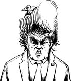 Outline cartoon of bird in hair of Donald Trump Royalty Free Stock Photo