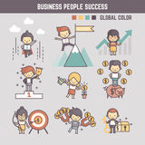 Outline cartoon characters illustration of business people succ Stock Image