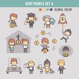 Outline cartoon characters illustration of people in debt stock illustration