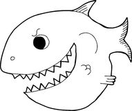 Outline Cartoon Fish. Black outline smiling cartoon fish with big teeth Stock Photography